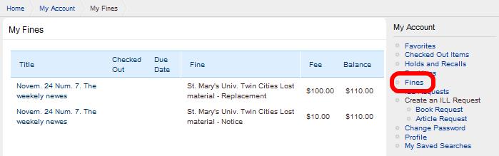 Fines tab