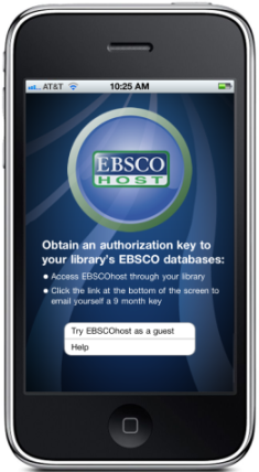 EBSCO App wants an Authentication Key and it wants it now.