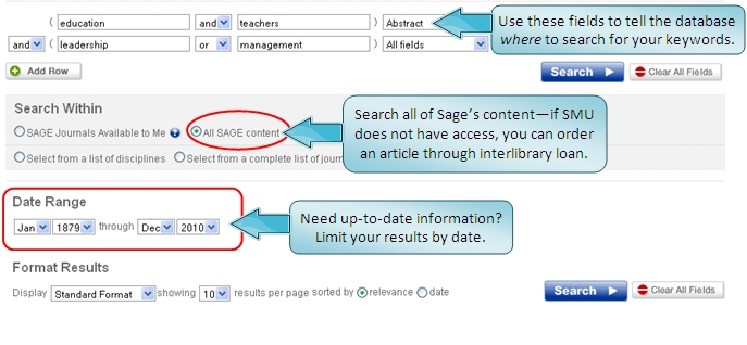 Sage search screen