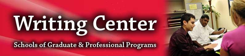 The Writing Center logo and a consultant assisting a student